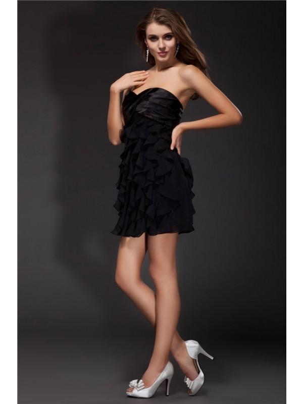 Short/Mini Sheath/Column Sweetheart Sleeveless Ruffles Chiffon Dresses