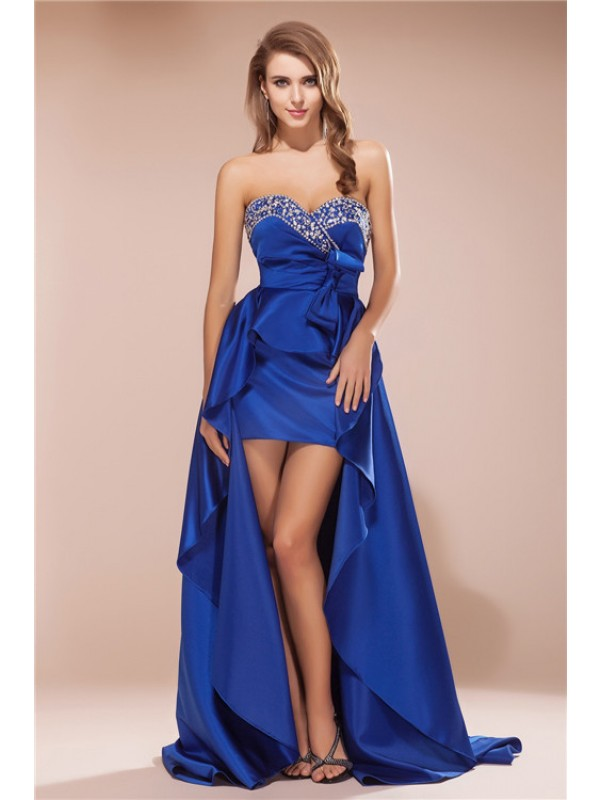 Asymmetrical A-Line/Princess Sweetheart Sleeveless Rhinestone Satin Dresses