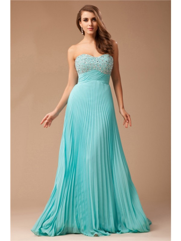 Floor-Length Empire Sweetheart Sleeveless Ruffles Chiffon Dresses