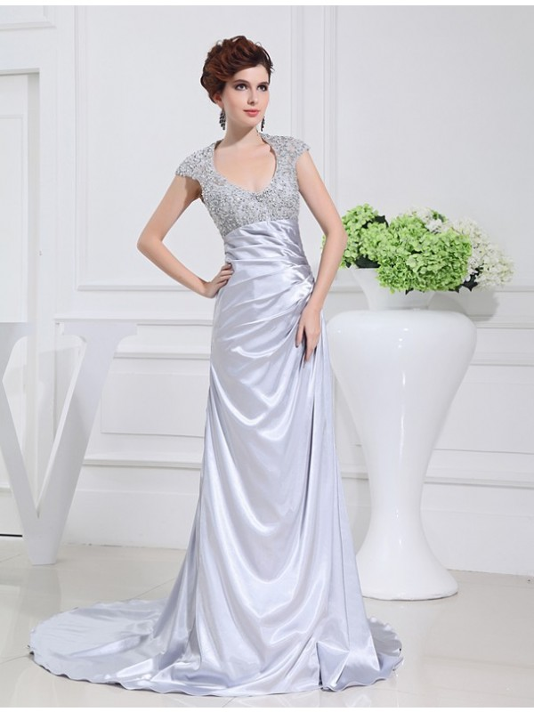 Sweep/Brush Train A-Line/Princess Scoop Sleeveless Beading Elastic Woven Satin Dresses