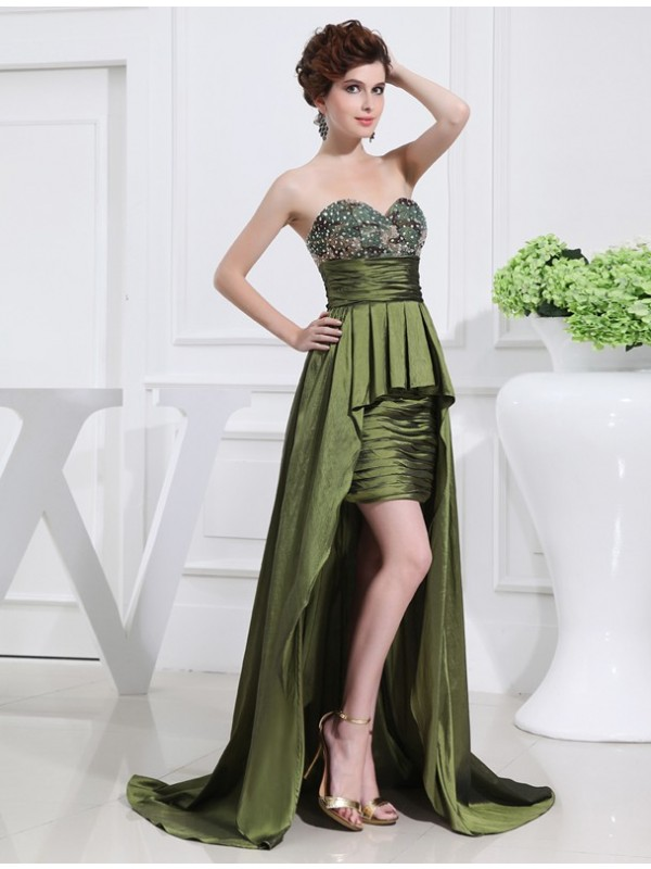 Asymmetrical A-Line/Princess Sweetheart Sleeveless Beading Taffeta Dresses