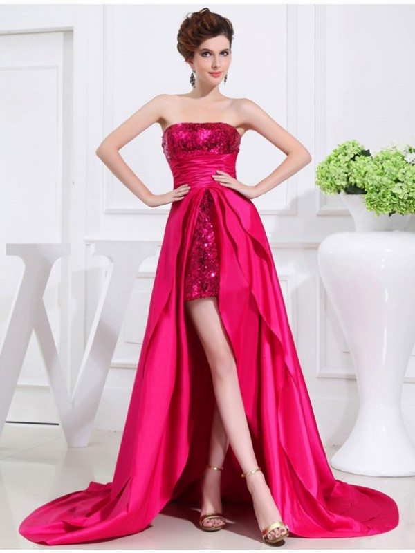 Asymmetrical A-Line/Princess Strapless Sleeveless Applique Taffeta Dresses
