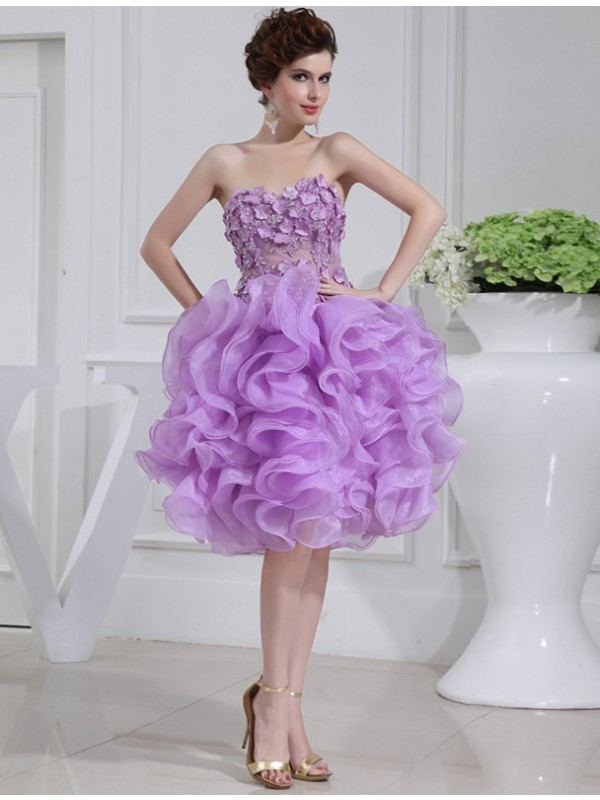 Short/Mini A-Line/Princess Sweetheart Sleeveless Beading Organza Dresses