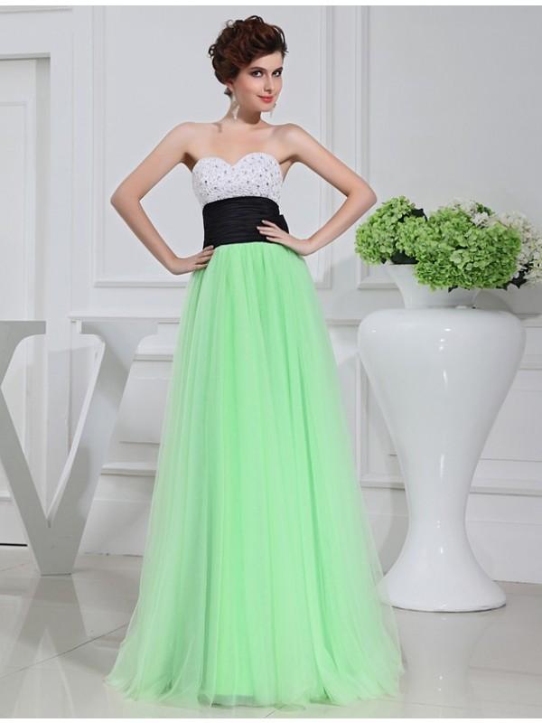 Floor-Length A-Line/Princess Sweetheart Sleeveless Bowknot Satin Dresses