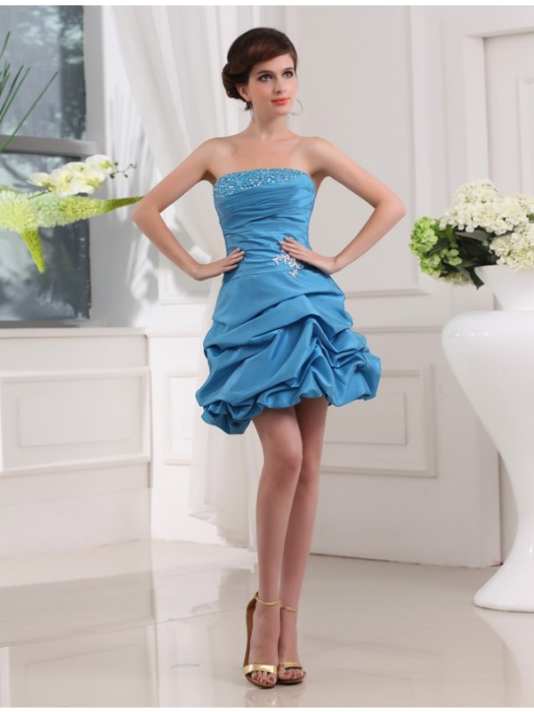 Short/Mini A-Line/Princess Strapless Sleeveless Beading Taffeta Dresses