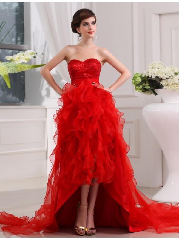Asymmetrical A-Line/Princess Sweetheart Sleeveless Sequin Organza Dresses