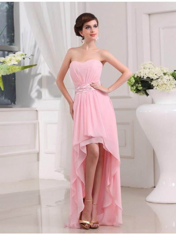 Asymmetrical A-Line/Princess Sweetheart Sleeveless Beading Chiffon Dresses