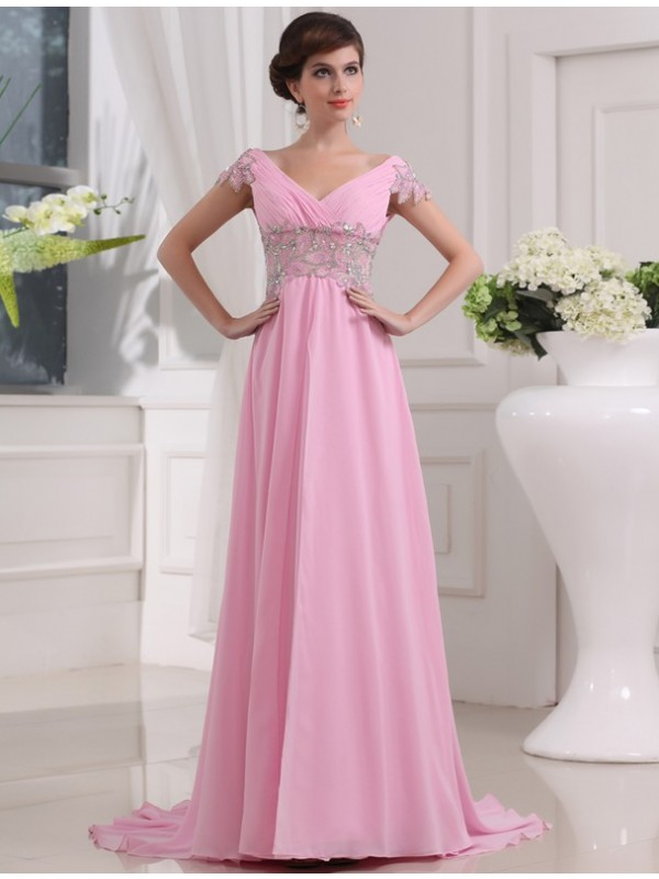 Sweep/Brush Train A-Line/Princess V-neck Short Sleeves Beading Chiffon Dresses