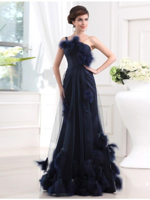 Floor-Length Trumpet/Mermaid One-Shoulder Sleeveless Feathers/Fur Tulle Dresses