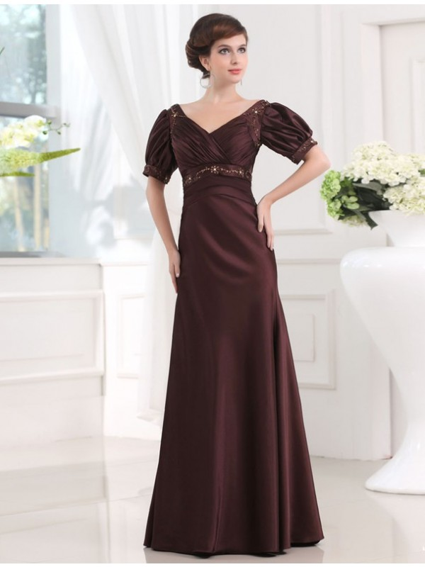 Floor-Length Sheath/Column V-neck 1/2 Sleeves Beading Satin Dresses