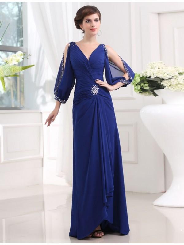 Floor-Length Sheath/Column V-neck 3/4 Sleeves Beading Chiffon Dresses