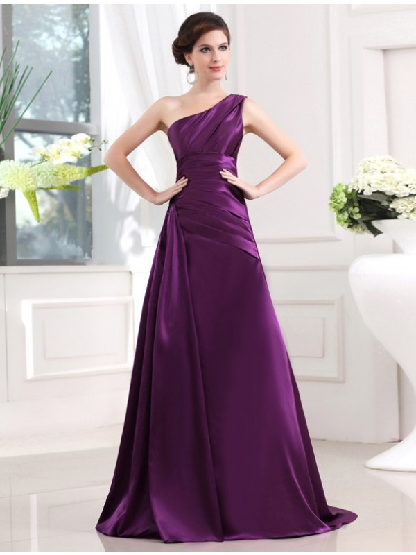 Sweep/Brush Train A-Line/Princess One-Shoulder Sleeveless Pleats Elastic Woven Satin Dresses