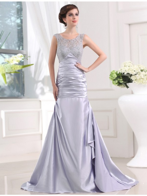 Sweep/Brush Train Trumpet/Mermaid Scoop Sleeveless Beading Elastic Woven Satin Dresses