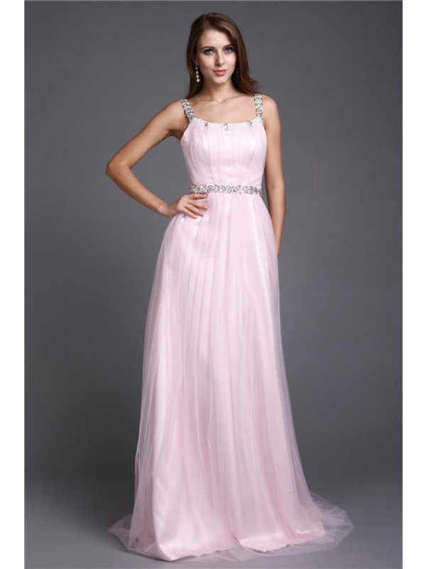 Floor-Length A-Line/Princess Spaghetti Straps Sleeveless Rhinestone Net Dresses