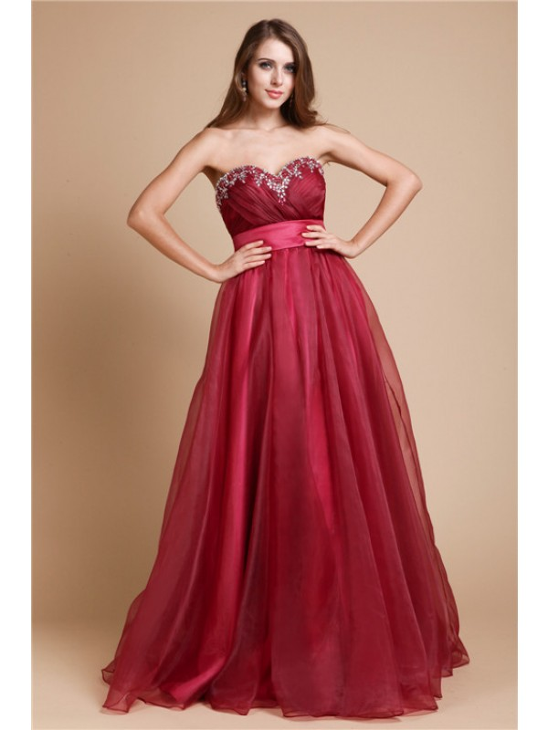 Floor-Length A-Line/Princess Sweetheart Sleeveless Beading Organza Dresses
