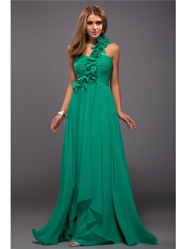 Floor-Length Sheath/Column One-Shoulder Sleeveless Hand-Made Flower Chiffon Dresses