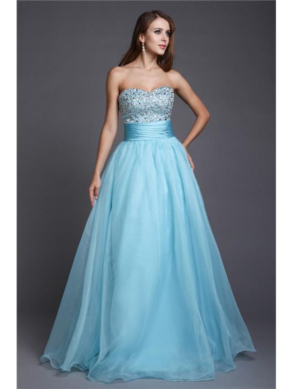 Floor-Length A-Line/Princess Sweetheart Sleeveless Beading Organza Dresses