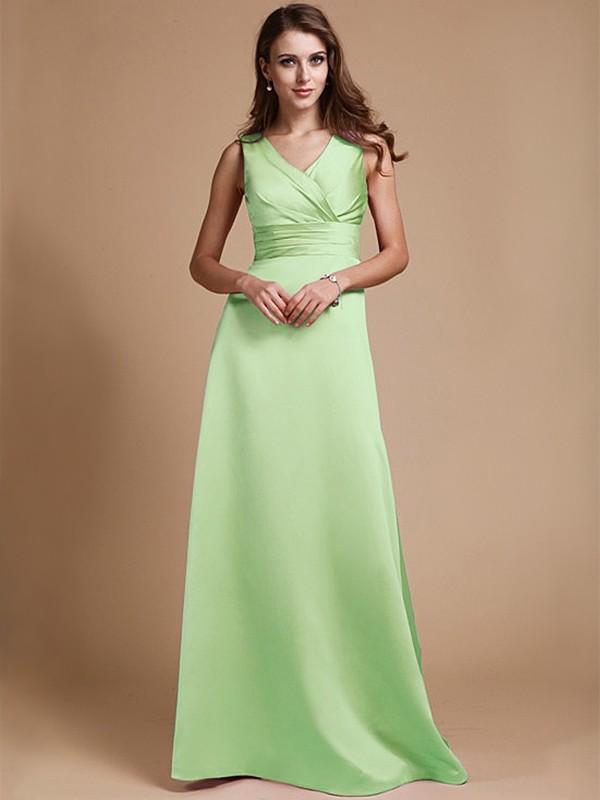 68bfeb33d07 Floor-Length A-Line Princess V-neck Sleeveless Ruched Elastic Woven Satin  Bridesmaid Dresses