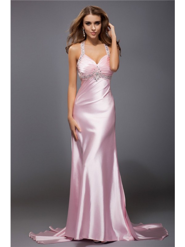 Sweep/Brush Train Sheath/Column Spaghetti Straps Sleeveless Beading Elastic Woven Satin Dresses