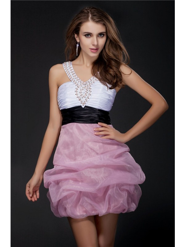 Short/Mini Ball Gown V-neck Sleeveless Sash/Ribbon/Belt Elastic Woven Satin Dresses