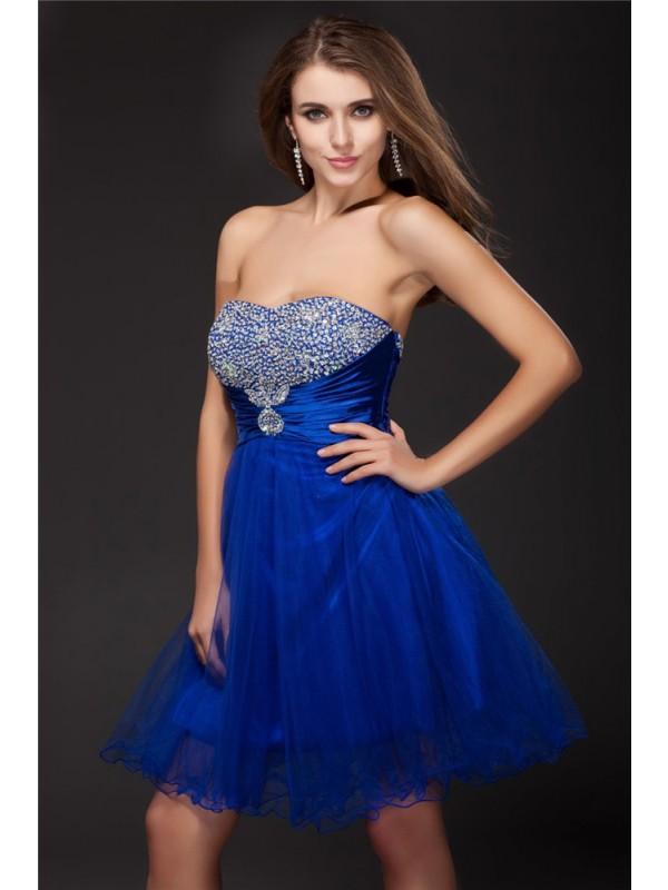 Short/Mini A-Line/Princess Strapless Sleeveless Beading Elastic Woven Satin Dresses