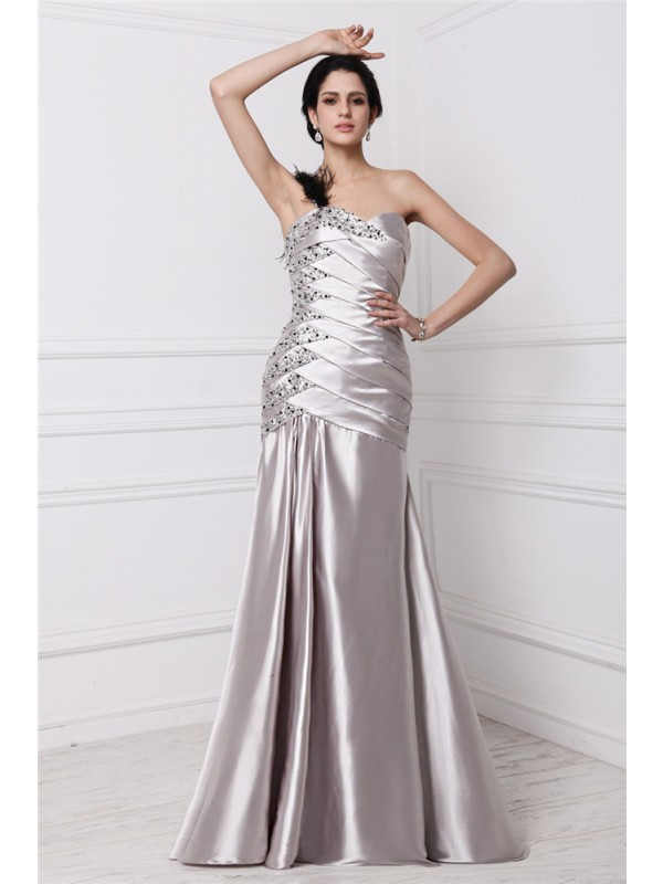 Floor-Length A-Line/Princess Sweetheart Sleeveless Beading Elastic Woven Satin Dresses