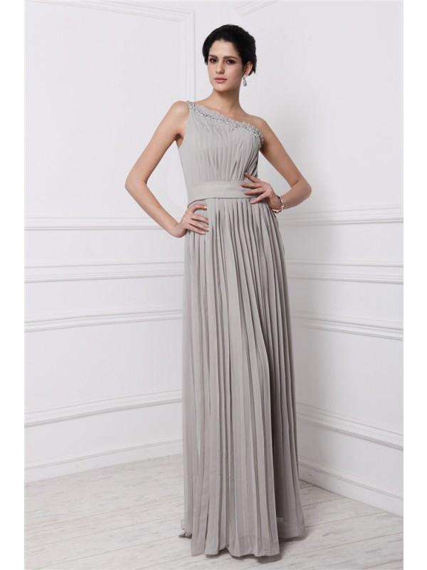 Floor-Length Sheath/Column One-Shoulder Sleeveless Beading Chiffon Dresses