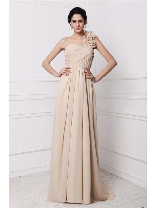 Sweep/Brush Train Sheath/Column One-Shoulder Sleeveless Pleats Chiffon Dresses