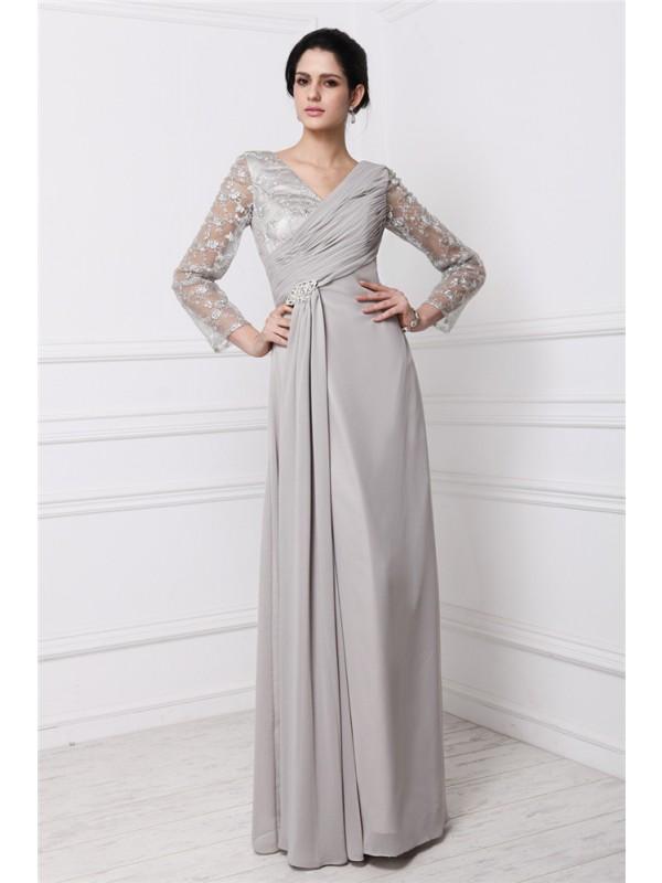 Floor-Length Sheath/Column V-neck Long Sleeves Lace Chiffon Dresses