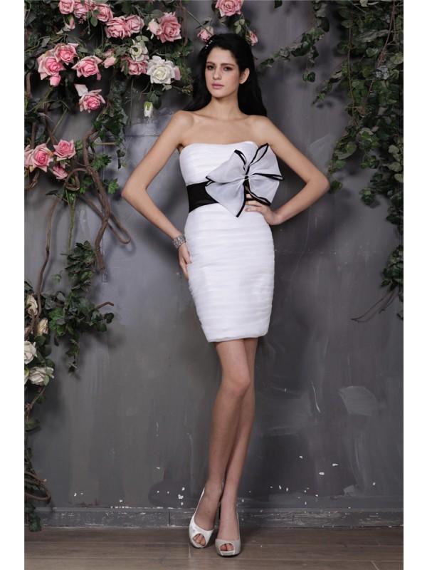 Short/Mini Sheath/Column Strapless Sleeveless Bowknot Organza Dresses