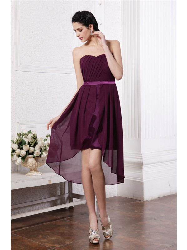 Asymmetrical Sheath/Column Strapless Sleeveless Sash/Ribbon/Belt Chiffon Dresses
