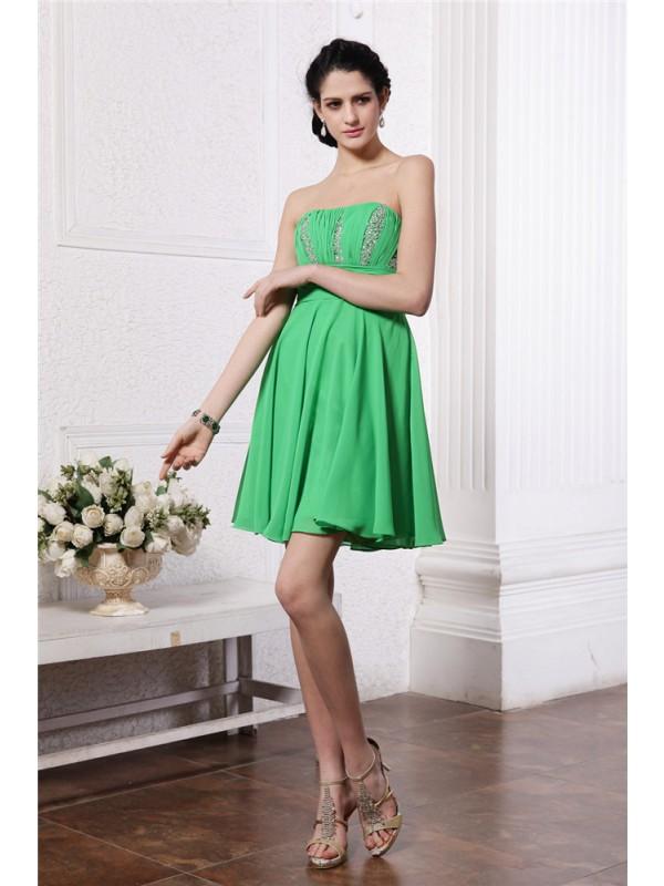 Short/Mini Sheath/Column Strapless Sleeveless Beading Chiffon Dresses