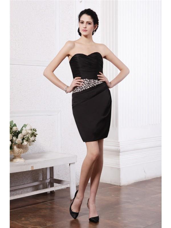 Short/Mini Sheath/Column Sweetheart Sleeveless Beading Chiffon Dresses