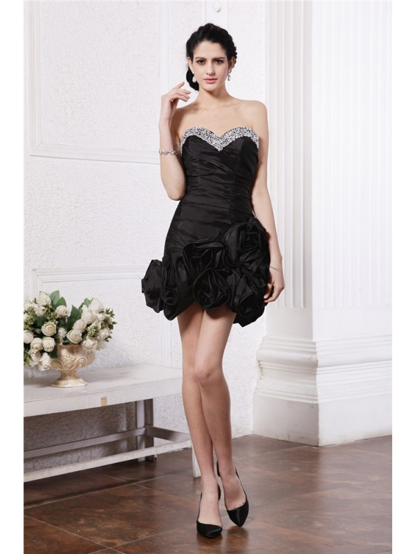 Short/Mini Sheath/Column Sweetheart Sleeveless Beading Taffeta Dresses