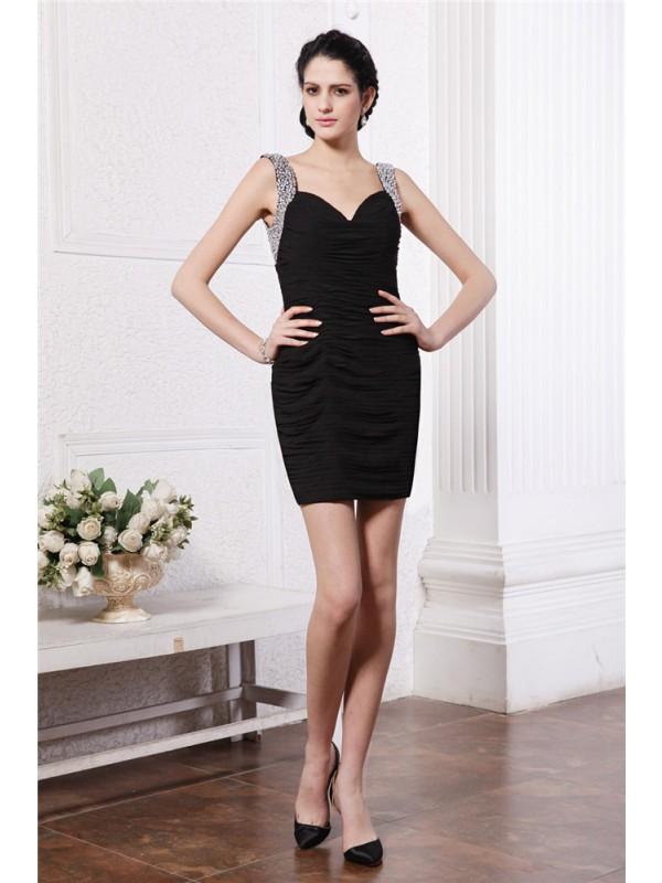 Short/Mini Sheath/Column Straps Sleeveless Beading Chiffon Dresses