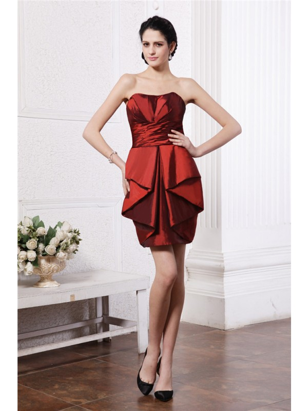 Short/Mini Sheath/Column Strapless Sleeveless Pleats Taffeta Dresses