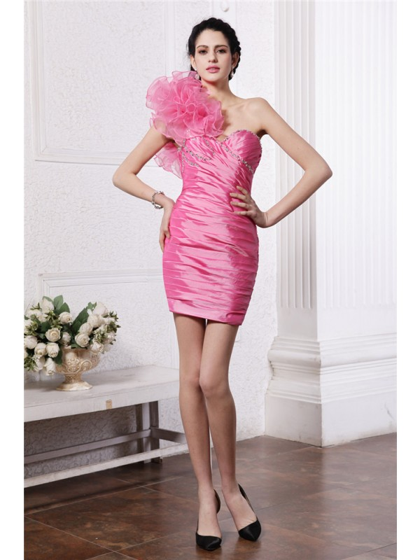 Short/Mini Sheath/Column One-Shoulder Sleeveless Ruffles Taffeta Dresses