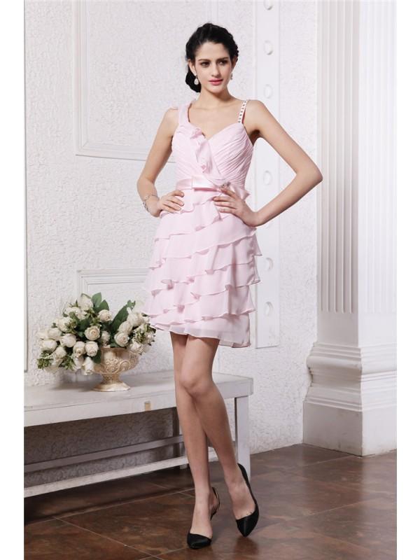 Short/Mini Sheath/Column Spaghetti Straps Sleeveless Ruffles Chiffon Dresses