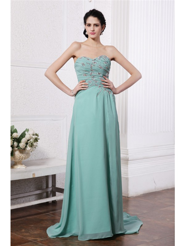 Sweep/Brush Train Sheath/Column Sweetheart Sleeveless Beading Chiffon Dresses