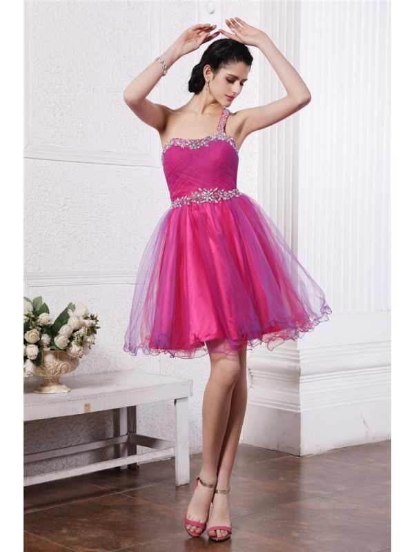Short/Mini A-Line/Princess One-Shoulder Sleeveless Beading Organza Dresses