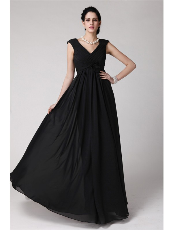 Floor-Length Sheath/Column V-neck Sleeveless Pleats Chiffon Dresses