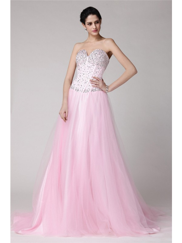 Sweep/Brush Train A-Line/Princess Sweetheart Sleeveless Beading Elastic Woven Satin Dresses