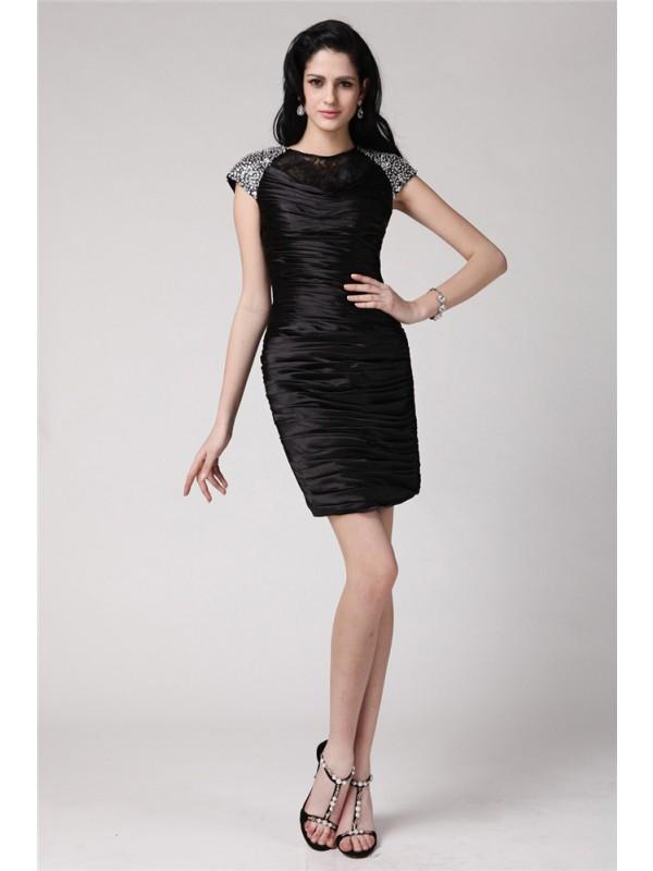 Short/Mini Sheath/Column Scoop Short Sleeves Beading Elastic Woven Satin Dresses