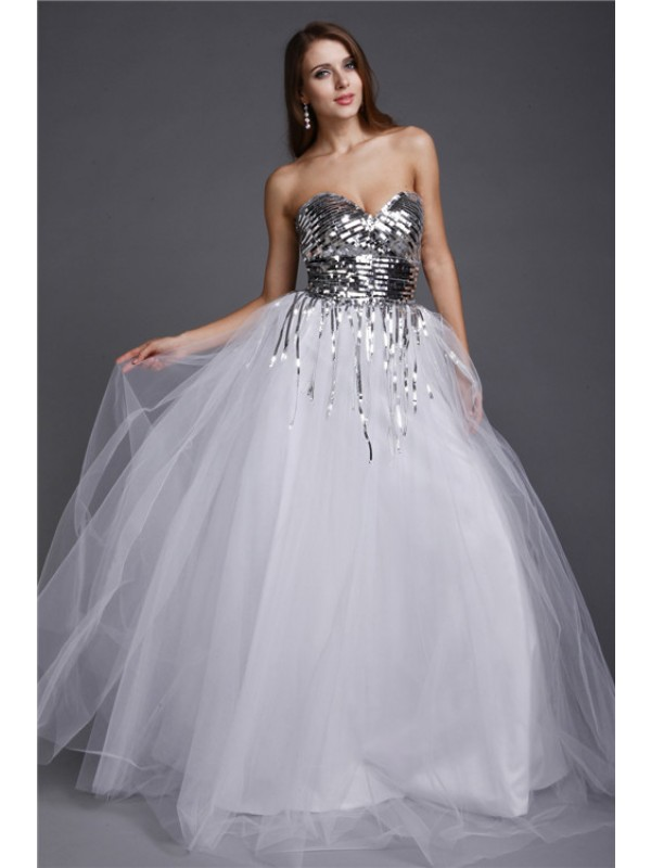 Floor-Length A-Line/Princess Sweetheart Sleeveless Sequin Net Dresses