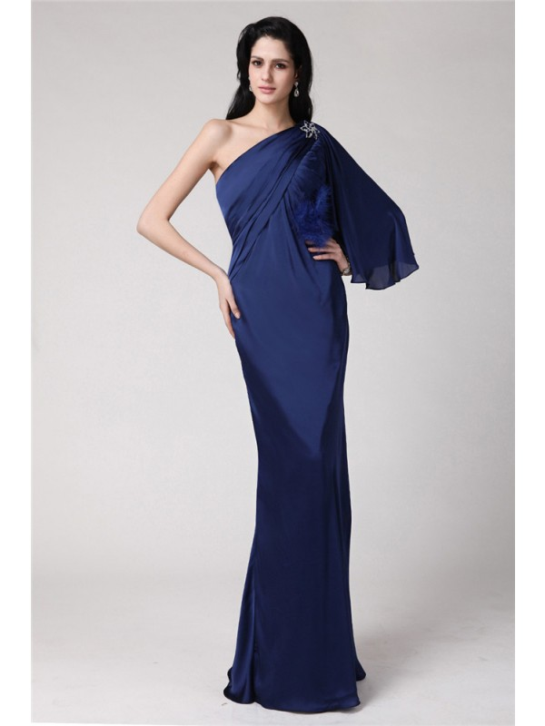 Floor-Length Trumpet/Mermaid One-Shoulder Sleeveless Feathers/Fur Chiffon Dresses
