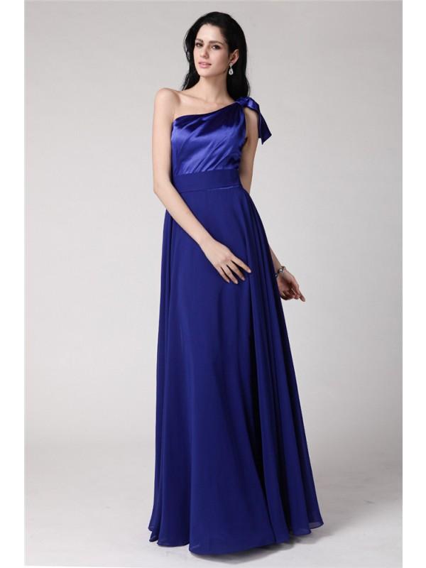 Floor-Length A-Line/Princess One-Shoulder Sleeveless Pleats Elastic Woven Satin Dresses