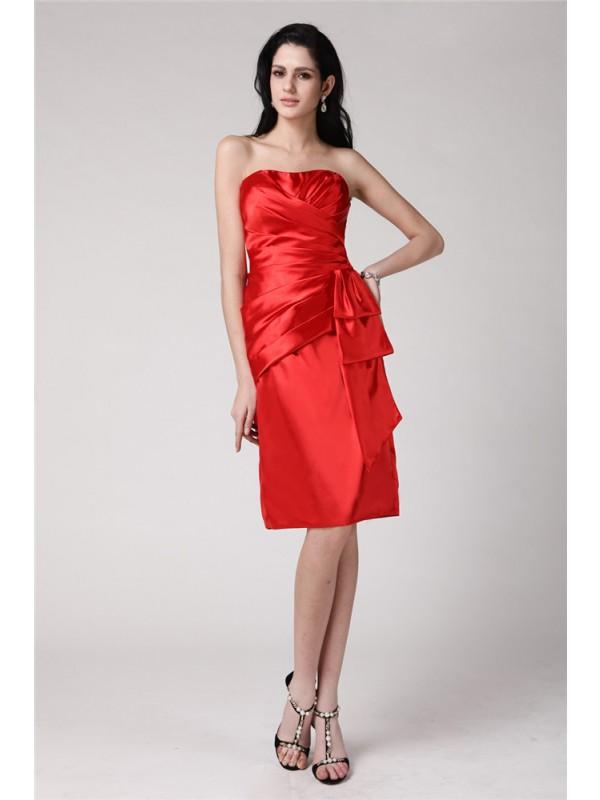 Knee-Length Sheath/Column Strapless Sleeveless Pleats Elastic Woven Satin Dresses