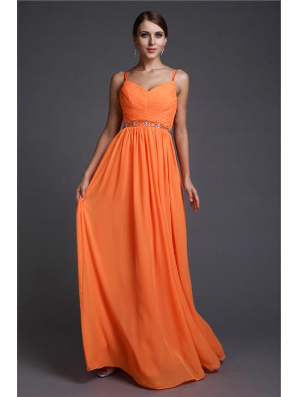 Floor-Length A-Line/Princess Spaghetti Straps Sleeveless Beading Chiffon Dresses