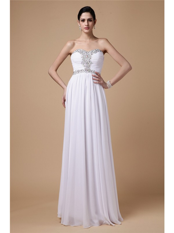Floor-Length Sheath/Column Strapless Sleeveless Beading Chiffon Dresses