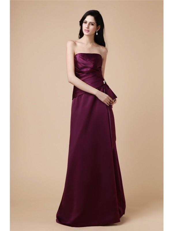 Floor-Length A-Line/Princess Strapless Sleeveless Beading Satin Dresses
